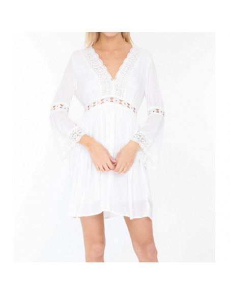 Robe bohème blanche en coton