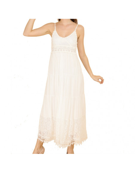Robe longue bohème blanche en coton