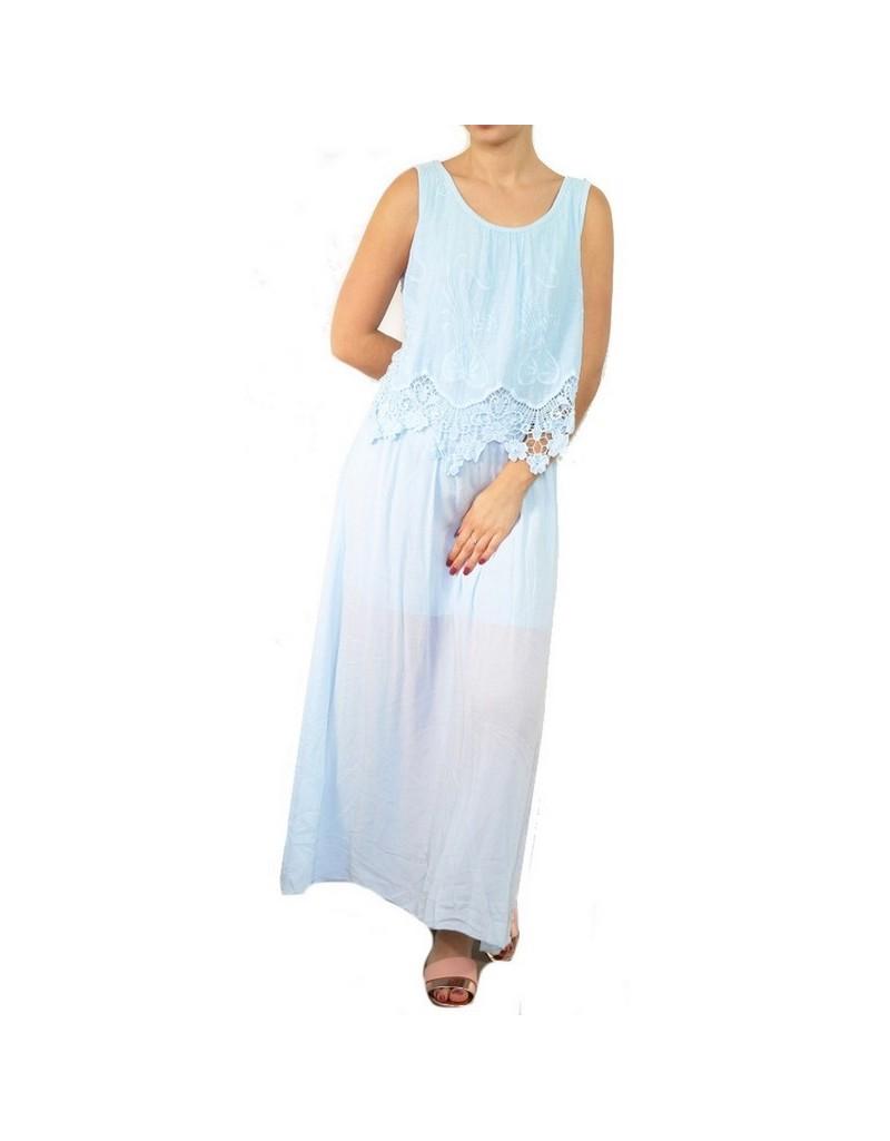 grand choix de 7646d a8a8c Robe longue bohème romantique bleu ciel