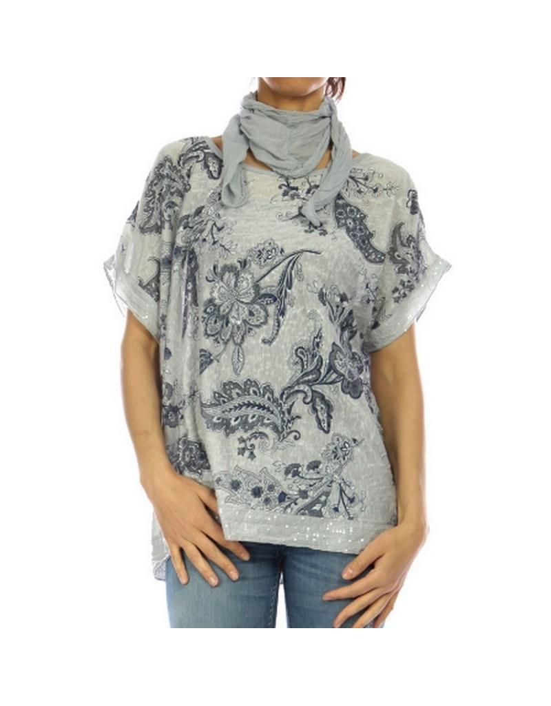 3f45c75114c Haut femme gris en coton et polyester avec motif floral. Manches courtes .  Foulard assorti .