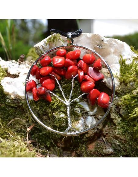Collier arbre de vie en Corail rouge