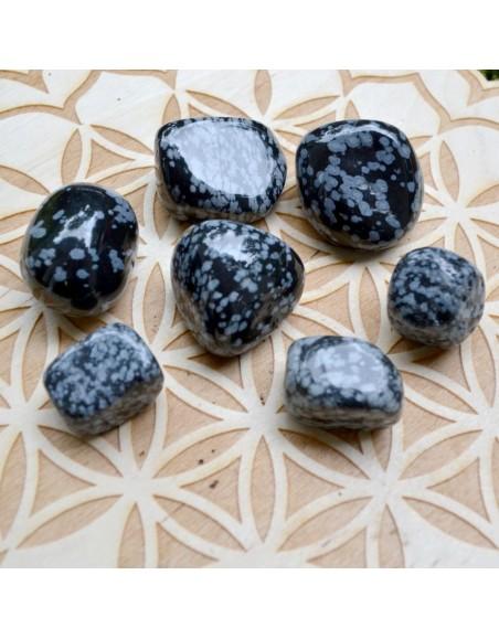 Obsidienne flocon de neige - Pierre roulée - 10 à 20 gr