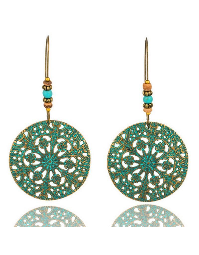 Boucle d'oreille boho ethnic vert antique avec perles