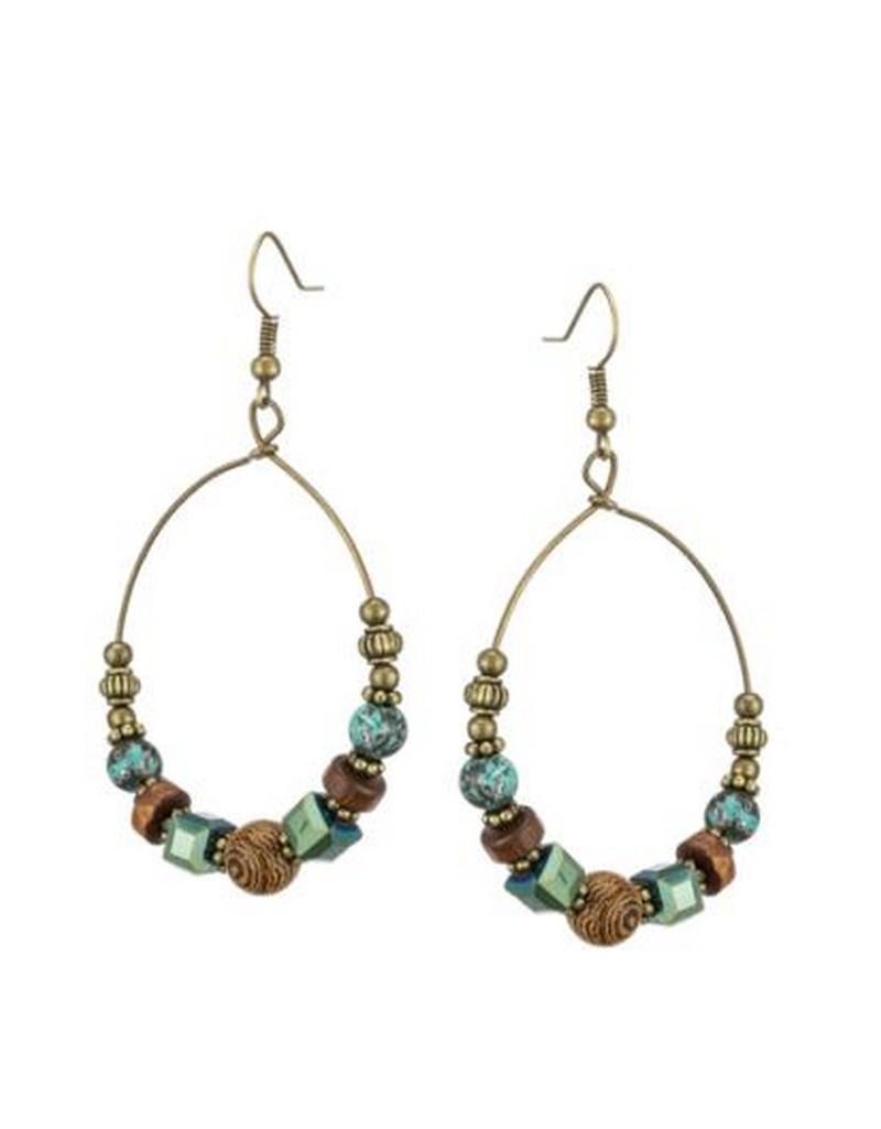 Boucle d'oreille créole ethnique avec perles de bois