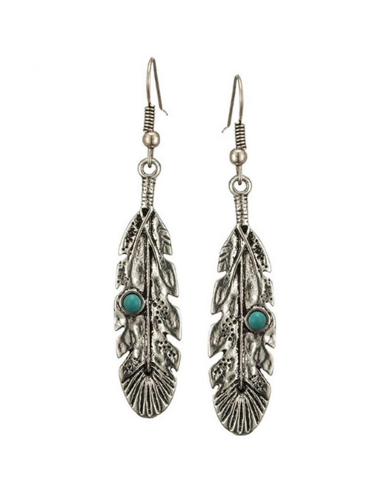 Boucle d'oreille plume indienne boho avec perle turquoise