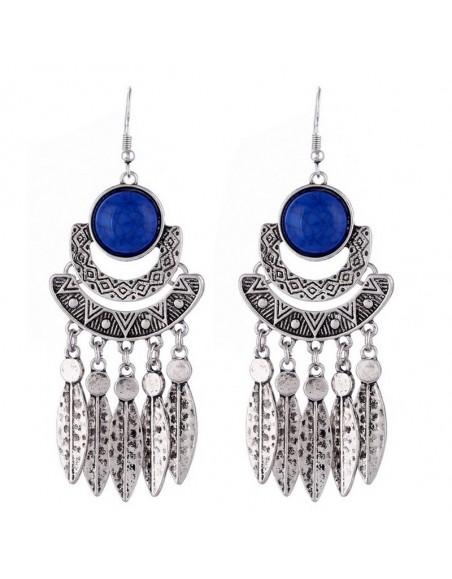 Boucles d'oreilles ethniques sculptées pierres bleues