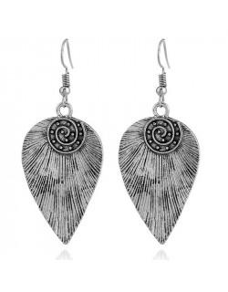 Boucles d'oreilles ethniques feuille argentée