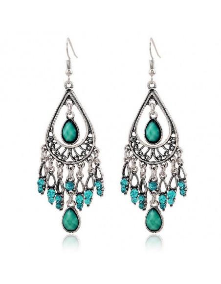 Boucles d'oreille boho gypsy chandelier vert