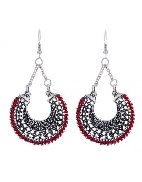 Boucles d'oreilles ethniques rouges et argents