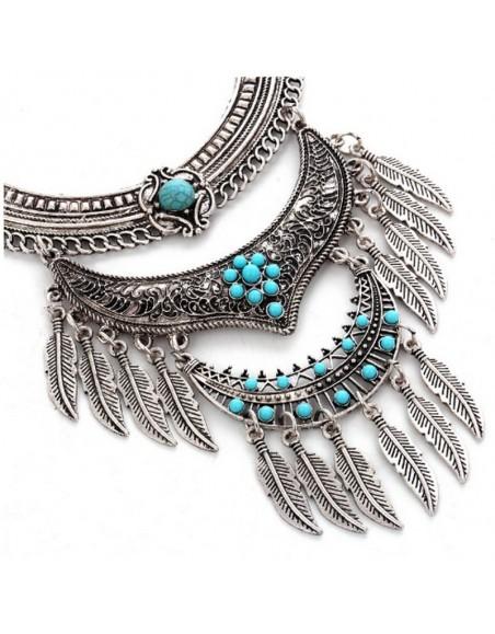 Collier ethnique boho plumes et turquoise