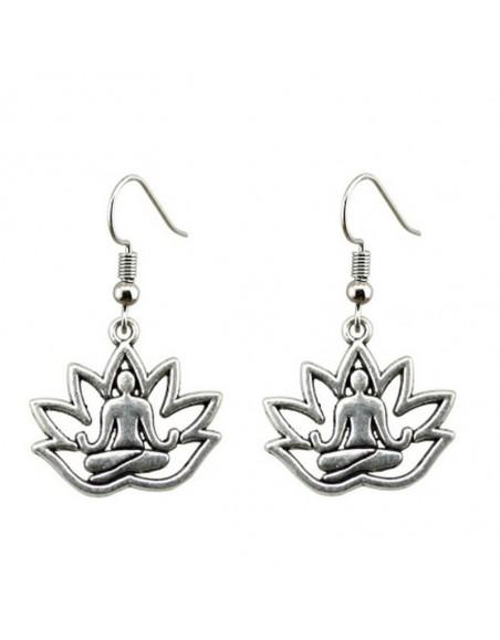Boucle d'oreille méditation lotus zen