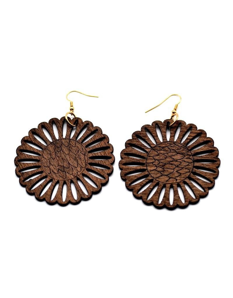 Boucles d'oreilles fleurs en bois marron