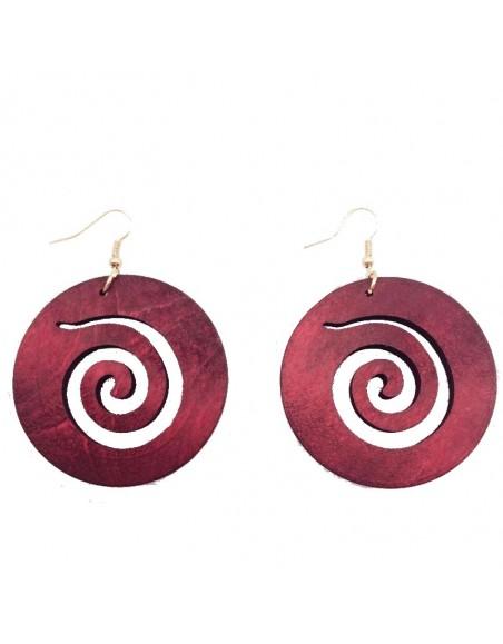 Boucles d'oreilles spirales en bois bordeaux