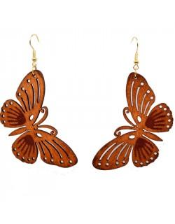 Boucle d'oreille papillon en bois marron