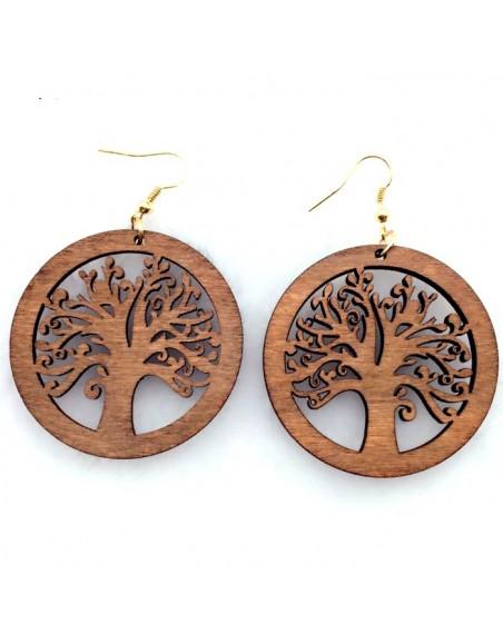Boucle d'oreille arbre de vie en bois