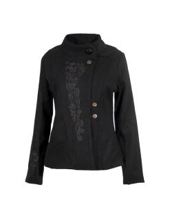 Manteau court ethnique noir brodé