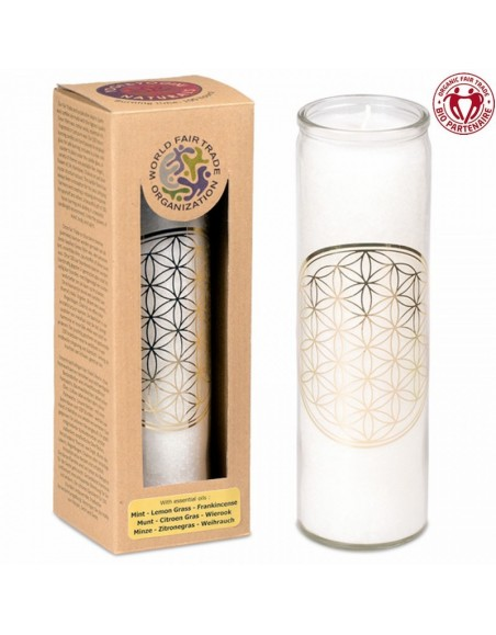 Candle Flower of Life white stearin in glass