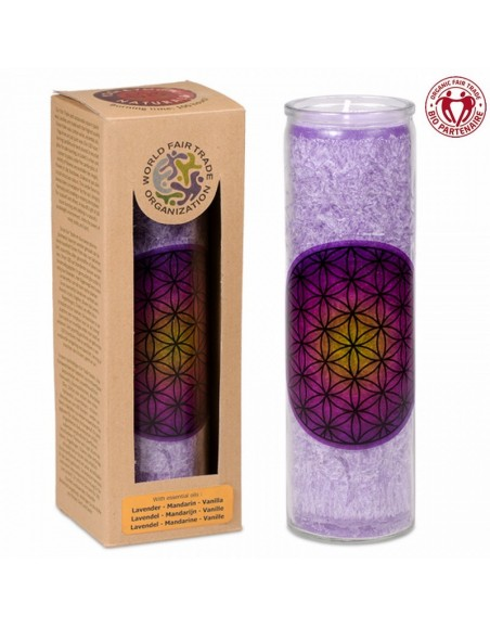 Candle Flower of Life purple stearin in glass
