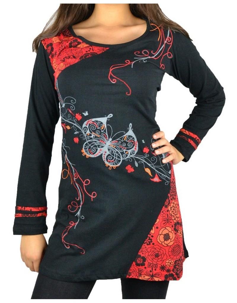 18811b964422c Tunique ethnique papillon noire et rouge - Boutique Kementari
