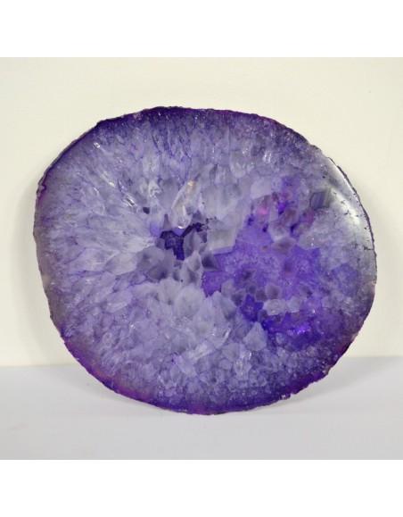 Tranche d'agate violette cristaux 490 gr