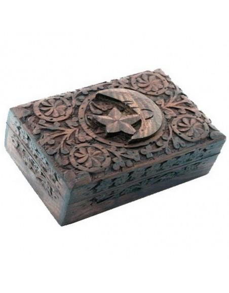 Boîte tarots étoile et lune bois sculpté