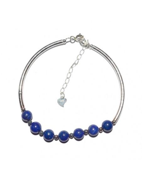 Bracelet en argent et pierre Lapis-lazuli