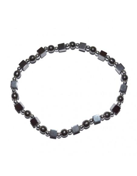 Bracelet hématite perles et cubes