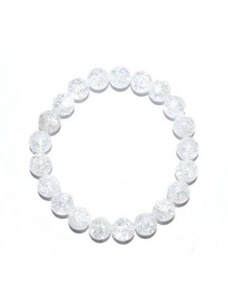 Bracelet perles cristal de roche craquelées
