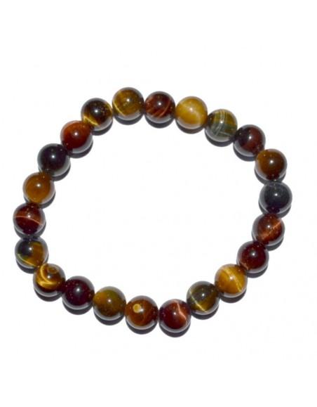 Bracelet en perle d'Oeil de tigre multicolore