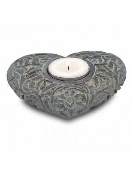 Bougeoir/brûle encens coeur pierre ollaire naturelle