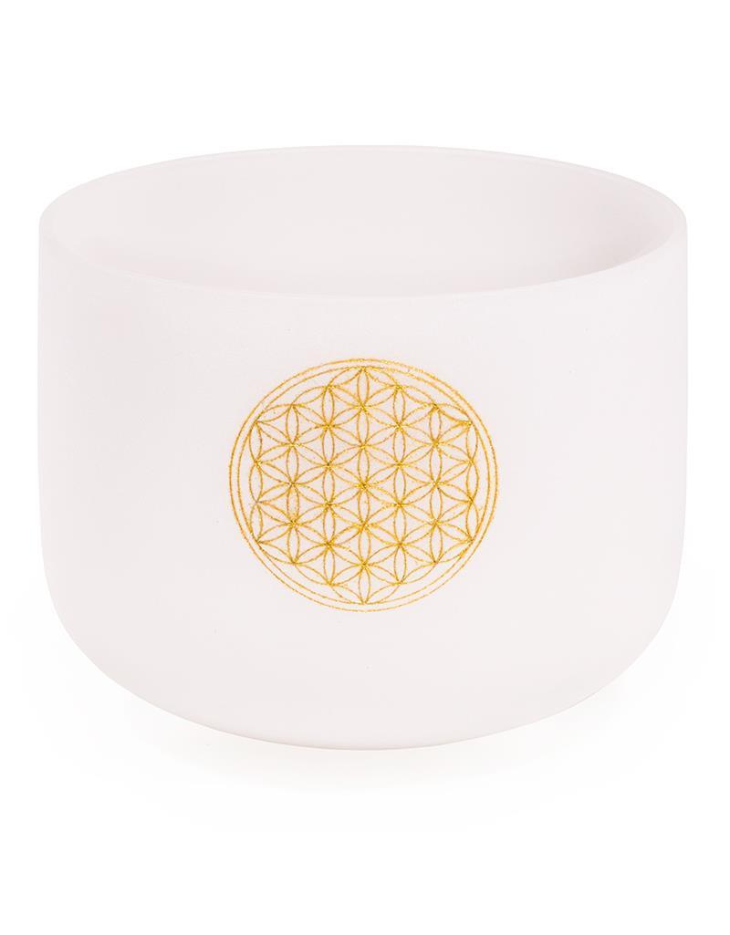 Crystal Singing Bowl F-tone Flower of Life 432 Hz + bag