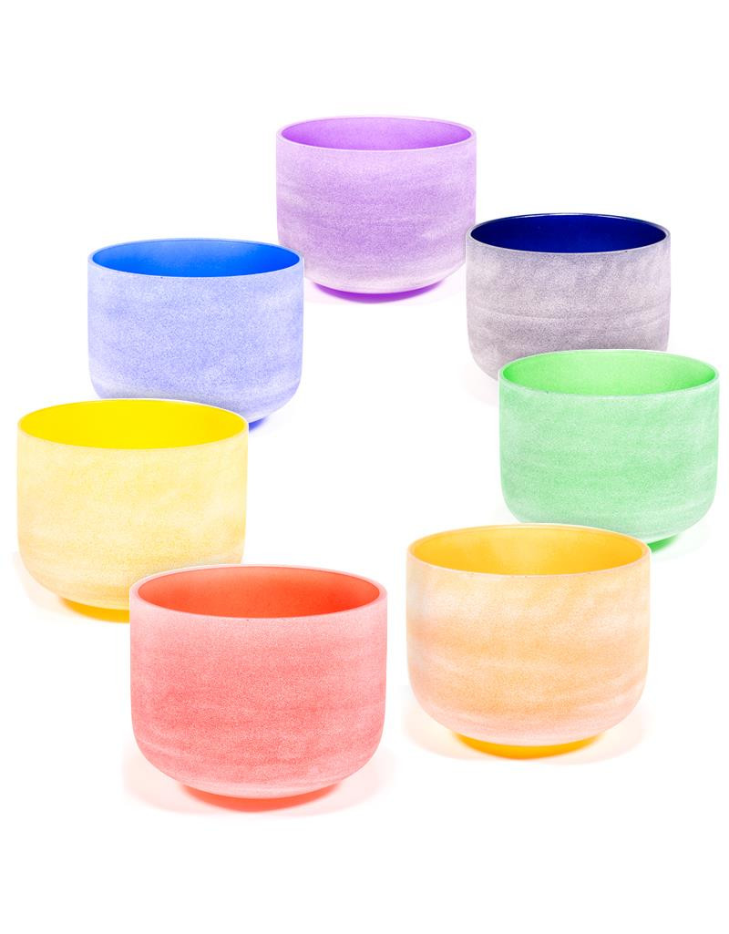 Crystal singing bowls Chakra colours SET 432 Hz-- 30 cm