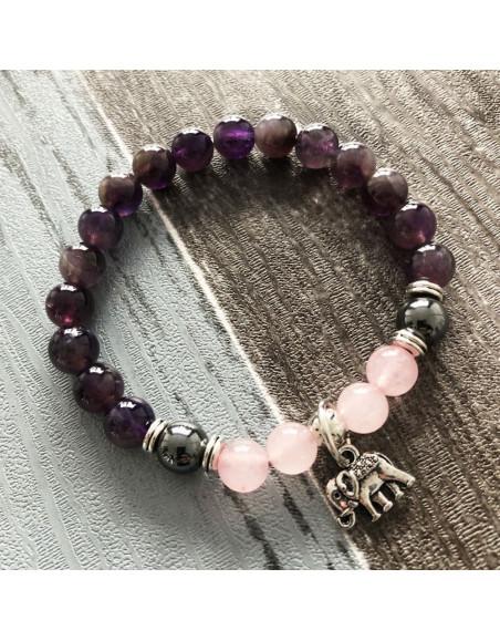 Bracelet améthyste quartz rose magnétite avec éléphant