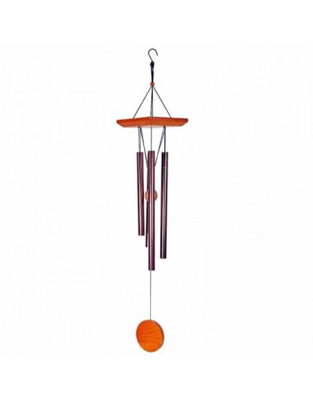 Carillons à vent 4 tubes cuivre - bois naturel