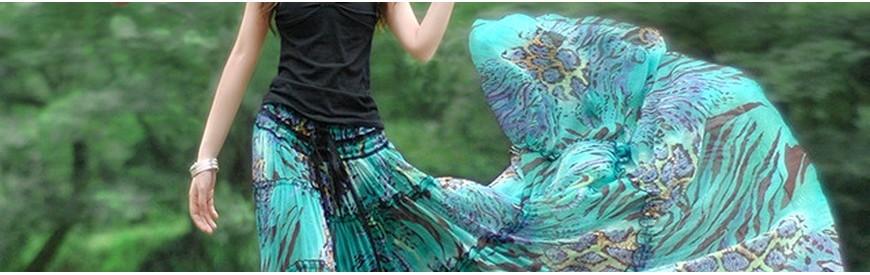 Long bohemian, ethnic and natural skirts